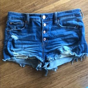 AE High Waisted Denim Button Fly Short